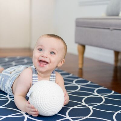 MEDIUM Hamptons Padded Play Mat - NAVY